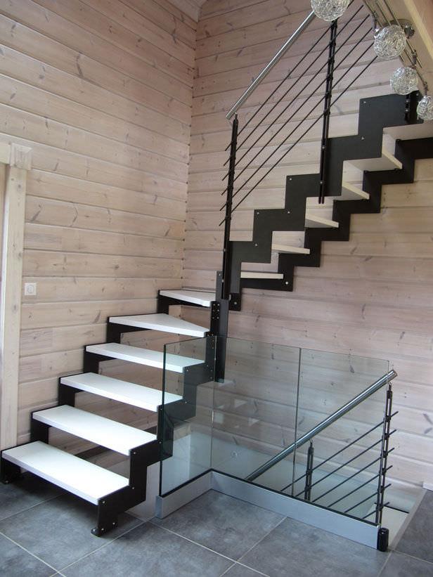 Conosciuto Scala a L / con gradini in legno / con struttura in metallo  EN87