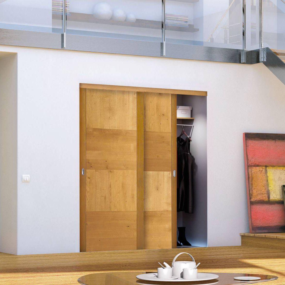 Armadio A Muro Design.Porta Per Armadio A Muro Battente Scorrevole In Quercia