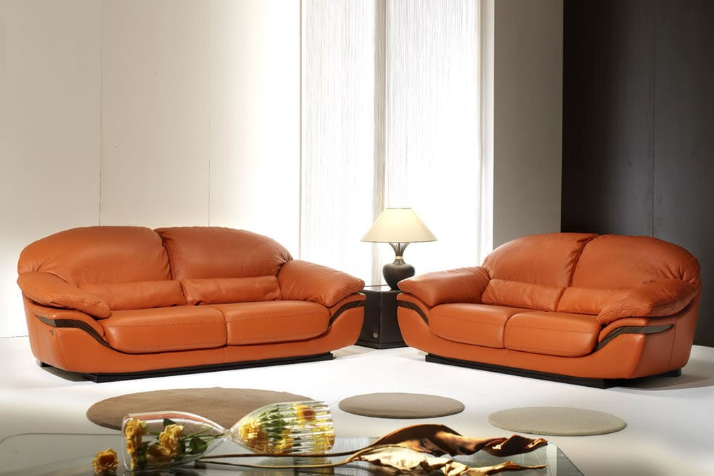 Divano Pelle Arancione : Divano classico in pelle posti arancione zen roma