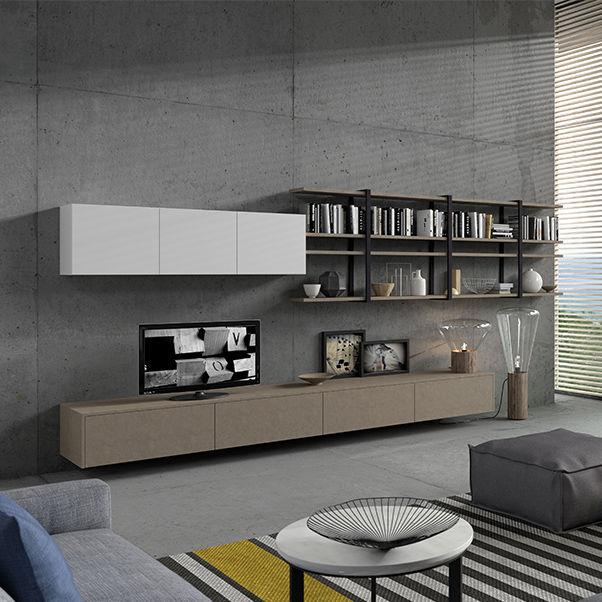 Parete attrezzata TV moderno / in vetro - BIJOU - ARAN Cucine