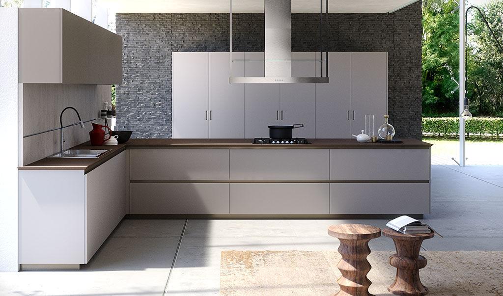 Cucina moderna / impiallacciata in legno / in legno laccato / con ...