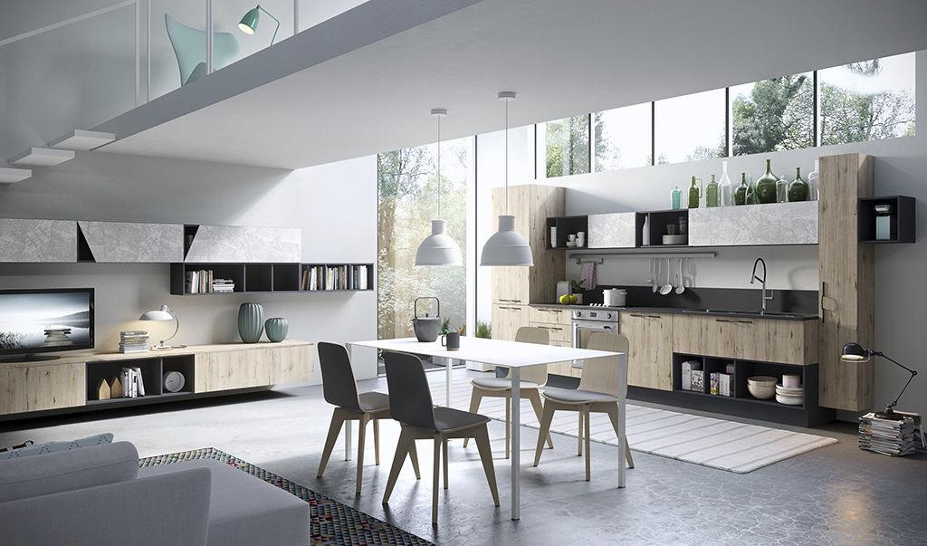 Cucina moderna in frassino in vetro con isola mia aran cucine