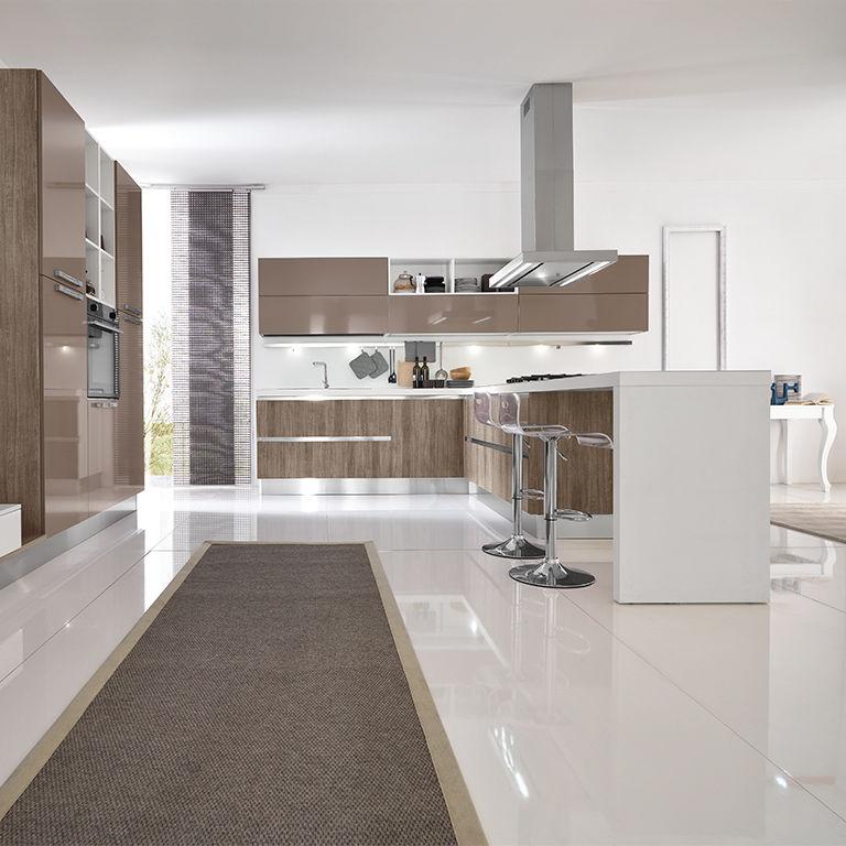 Cucina moderna / in laminato / polimerica / con isola - TERRA - ARAN ...