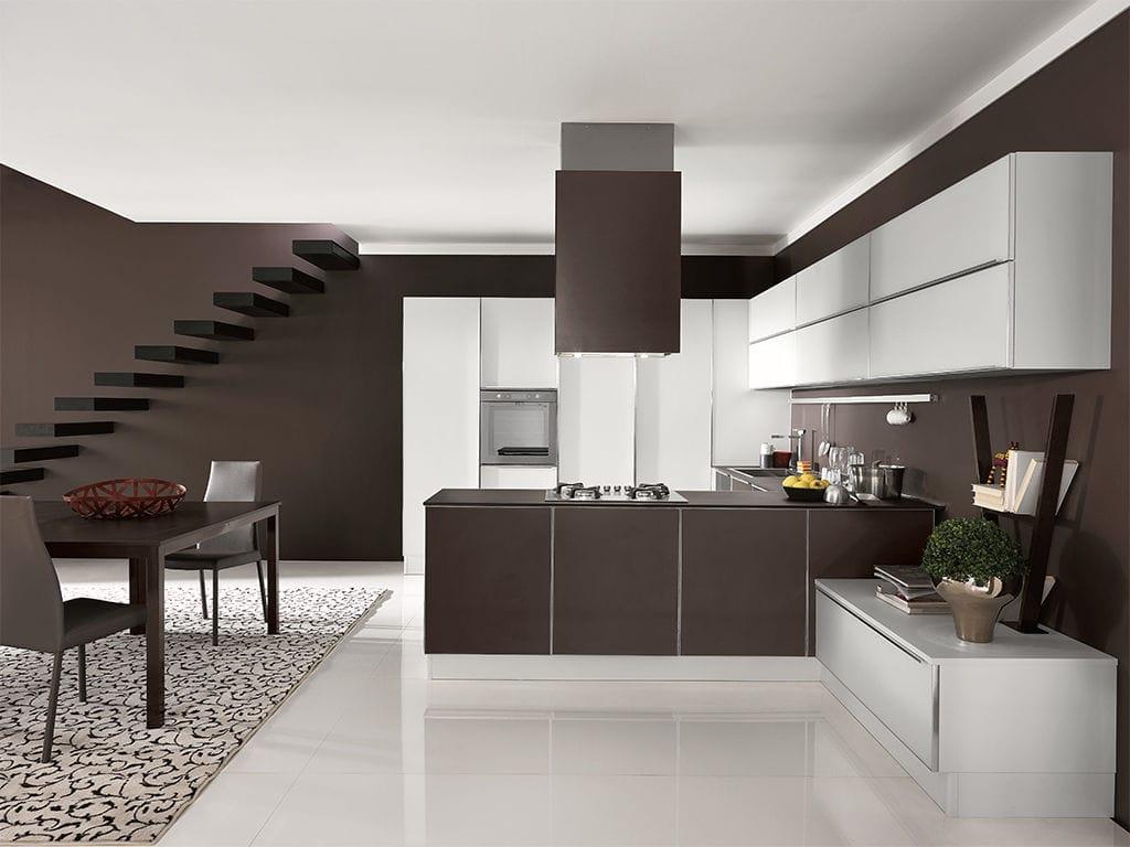 Cucina moderna / impiallacciata in legno / con isola / rotonda ...