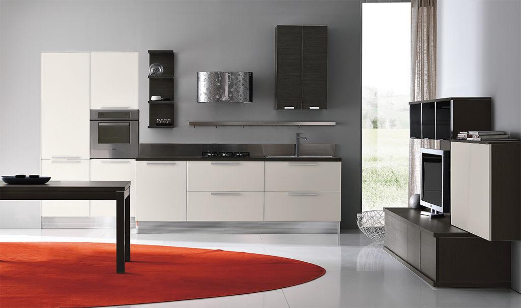 Parete attrezzata TV moderno / in legno laccato - MIA - ARAN Cucine