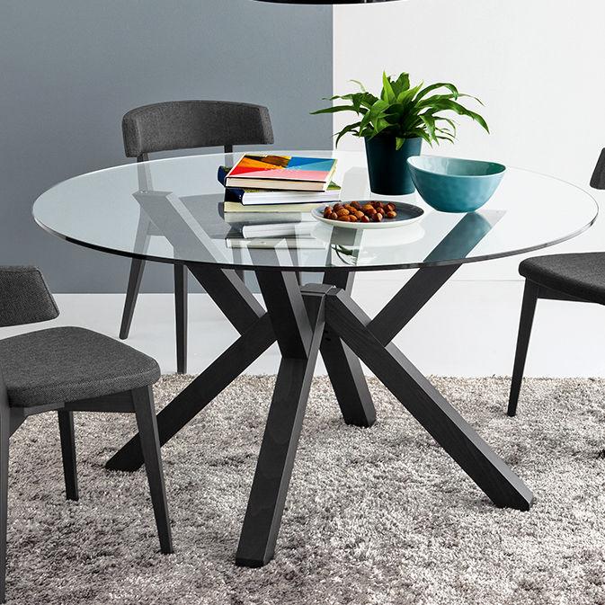 Tavolo moderno / in legno / in vetro / tondo - KIM - ARAN Cucine