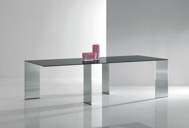 Tavolo moderno in legno in vetro in acciaio inossidabile