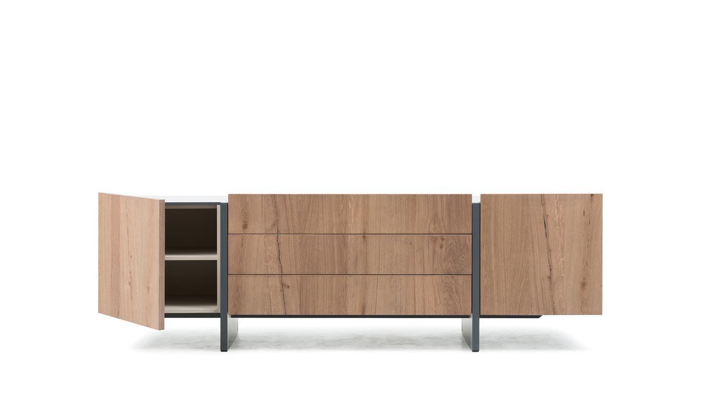 Credenza Moderna Gialla : Credenza moderna in legno gialla recta by marelli & molteni