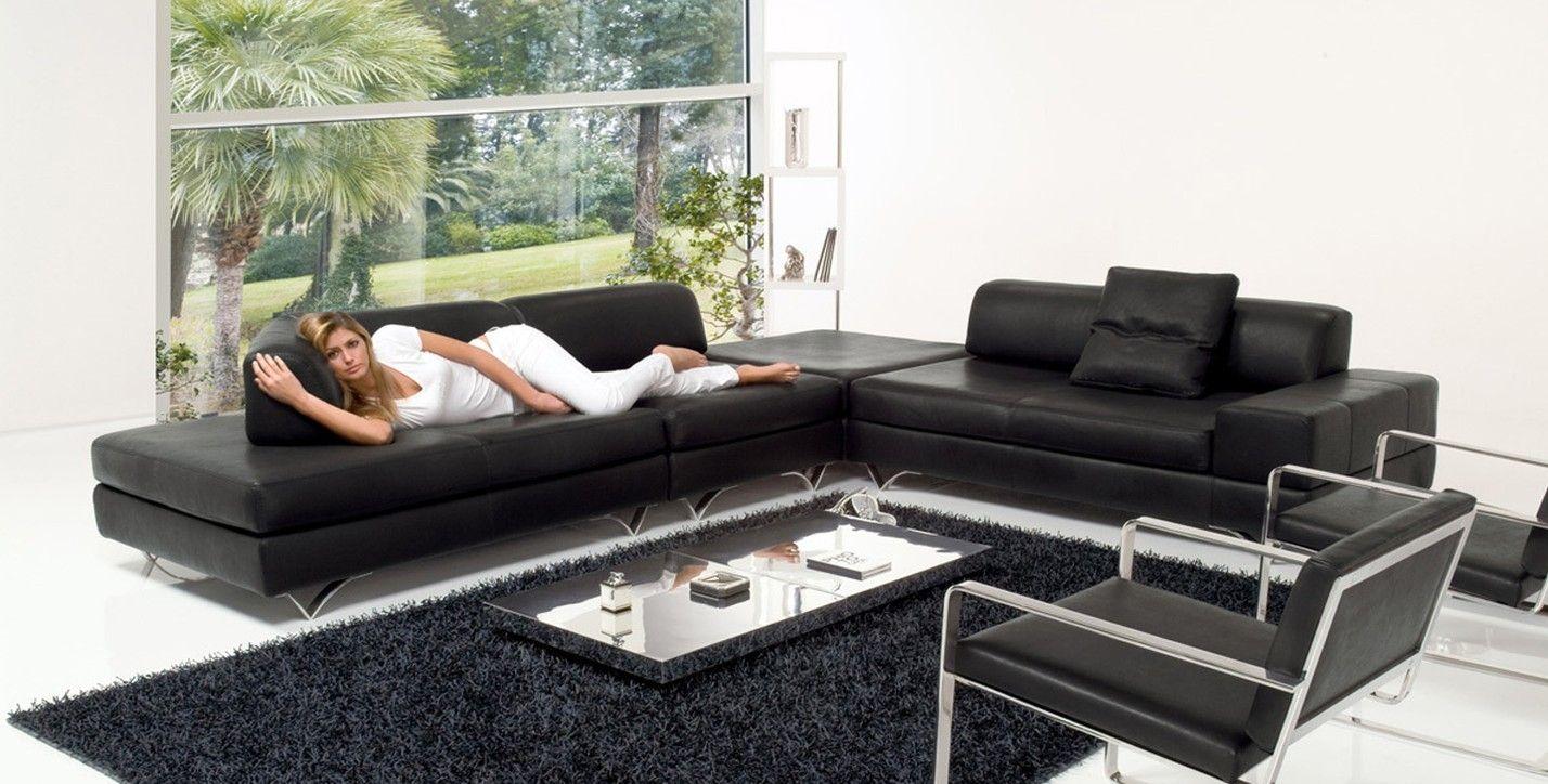 Divano Nero Moderno : Divano modulare moderno in pelle nero gold alpa salotti