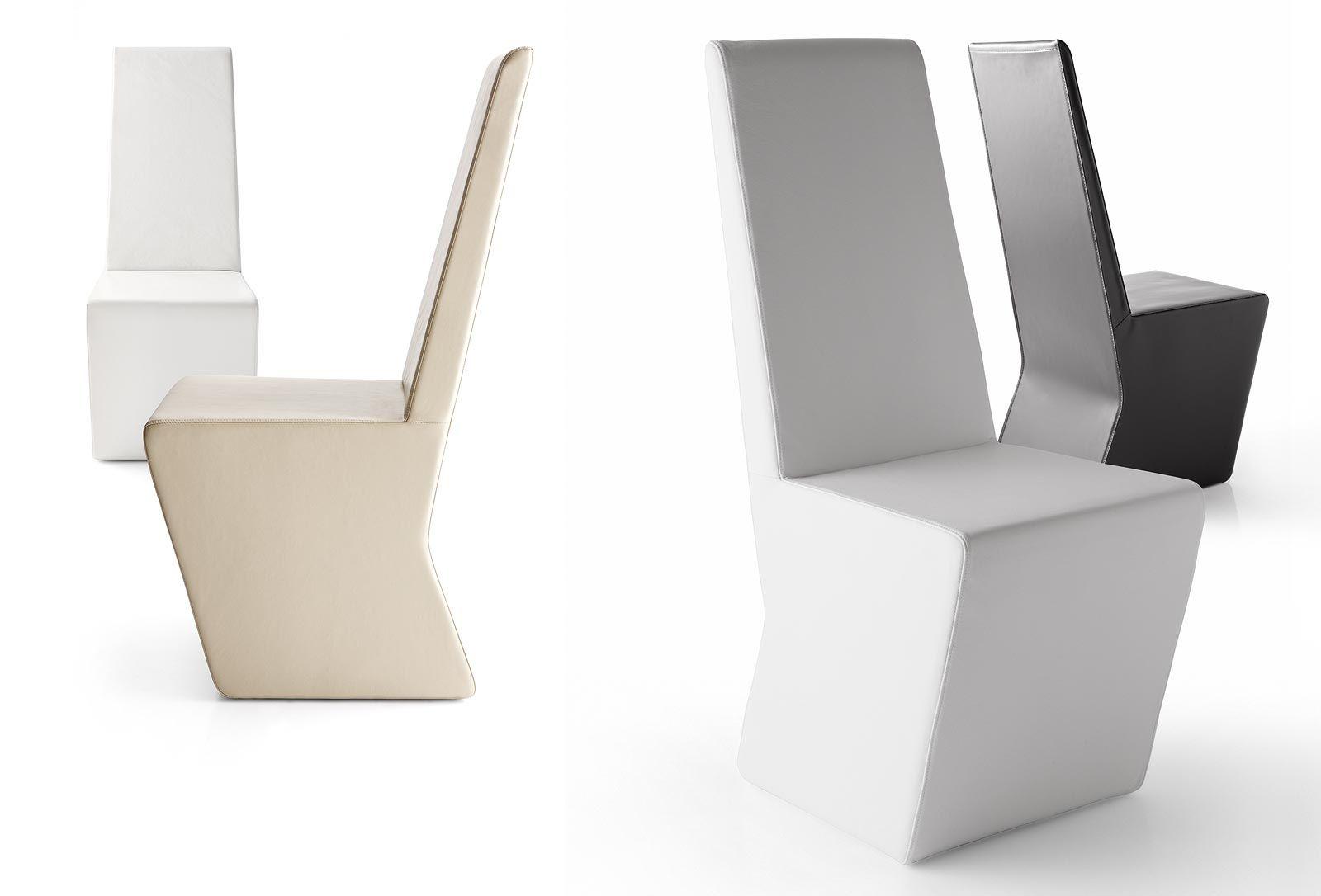Sedia moderna a schienale alto in pelle per uso contract
