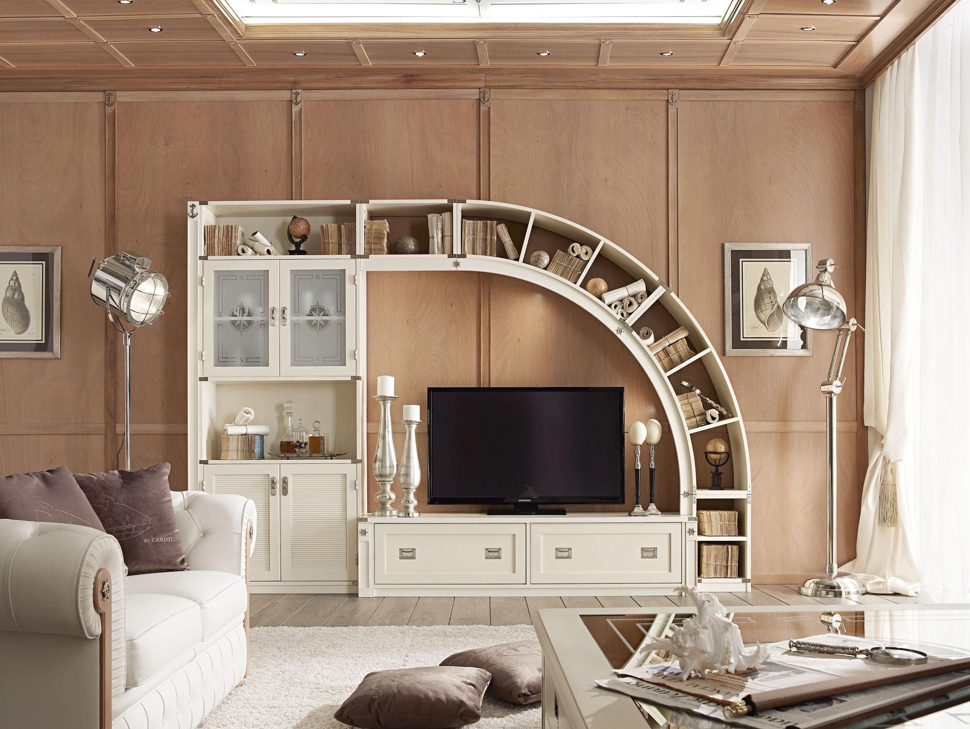 Parete attrezzata TV classico / in legno / in vetro / modulabile ...