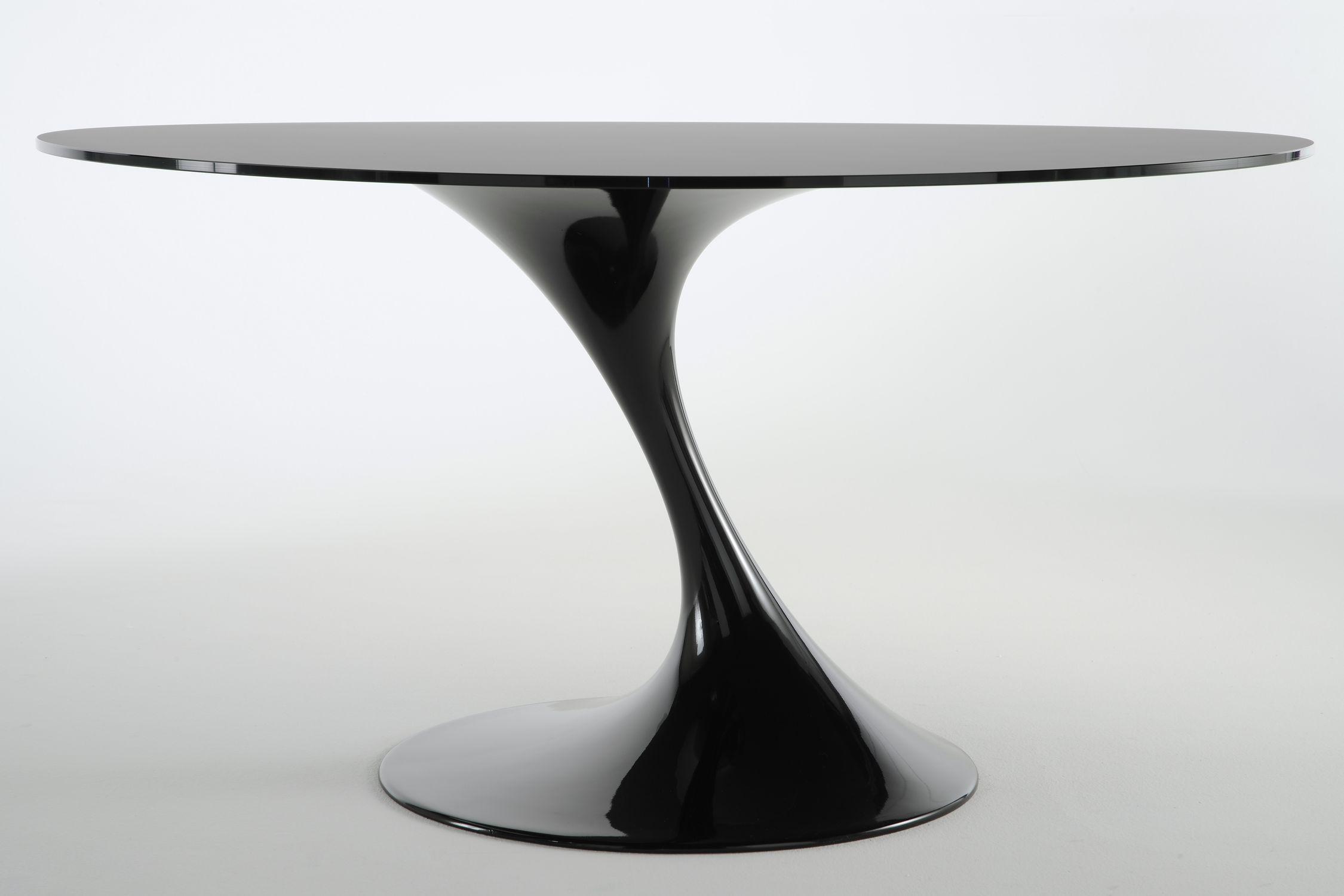 Tavolo Rotondo Moderno In Vetro.Tavolo Moderno In Vetro Tondo Atatlas Black By Marcello