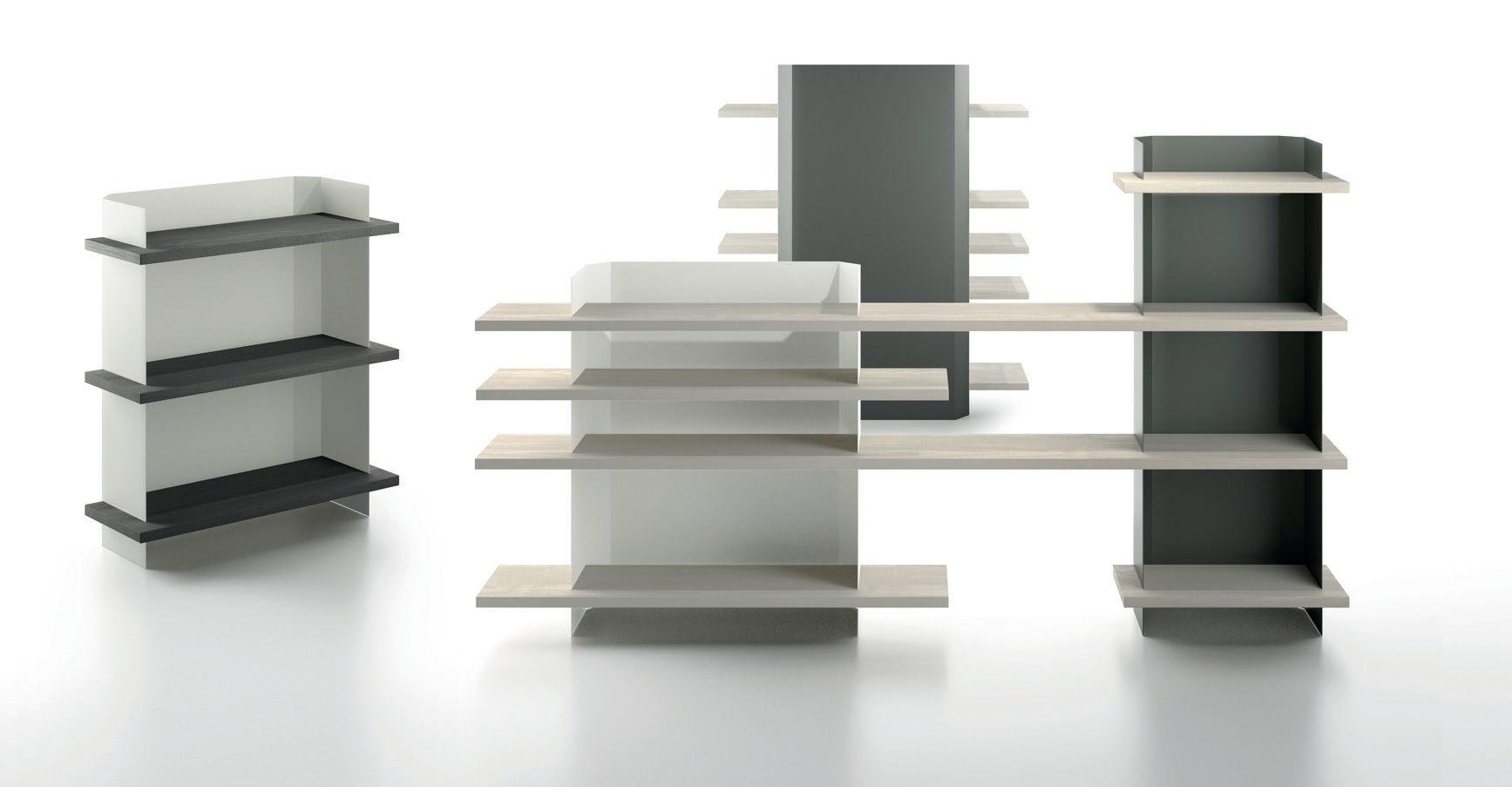 Scaffale moderno in legno compensato in metallo per ufficio