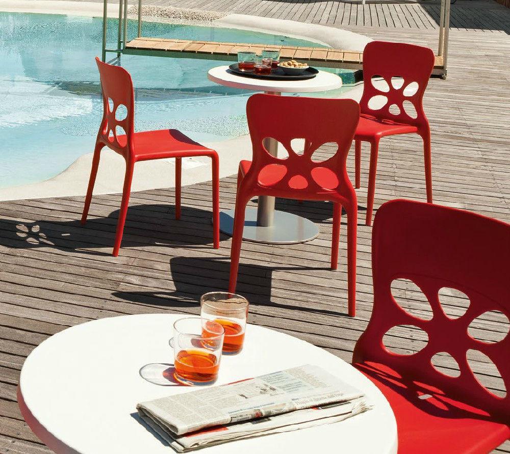 Sedie In Polipropilene Da Giardino.Sedia Da Giardino Moderna Impilabile In Polipropilene Neon