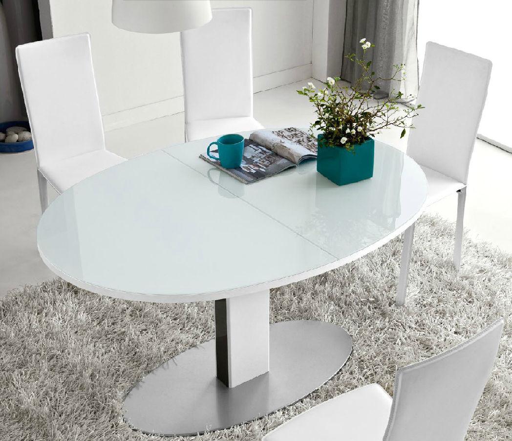Tavoli Ovali Allungabili In Vetro.Tavolo Moderno In Vetro Ovale Allungabile Thesis Olivo
