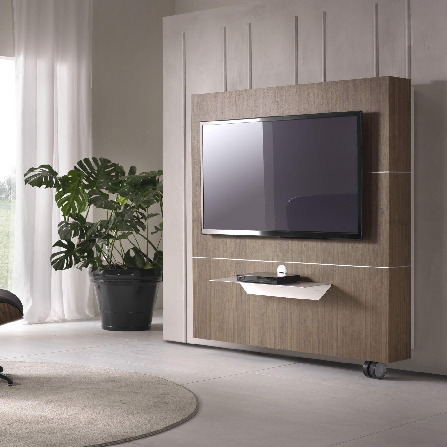 Mobile porta tv moderno / con moderno rotelle / in noce / in ...