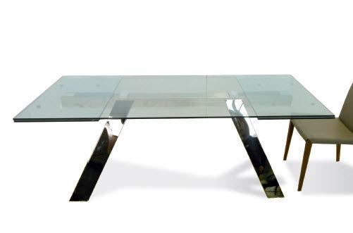 Tavolo moderno in vetro rettangolare allungabile traverse