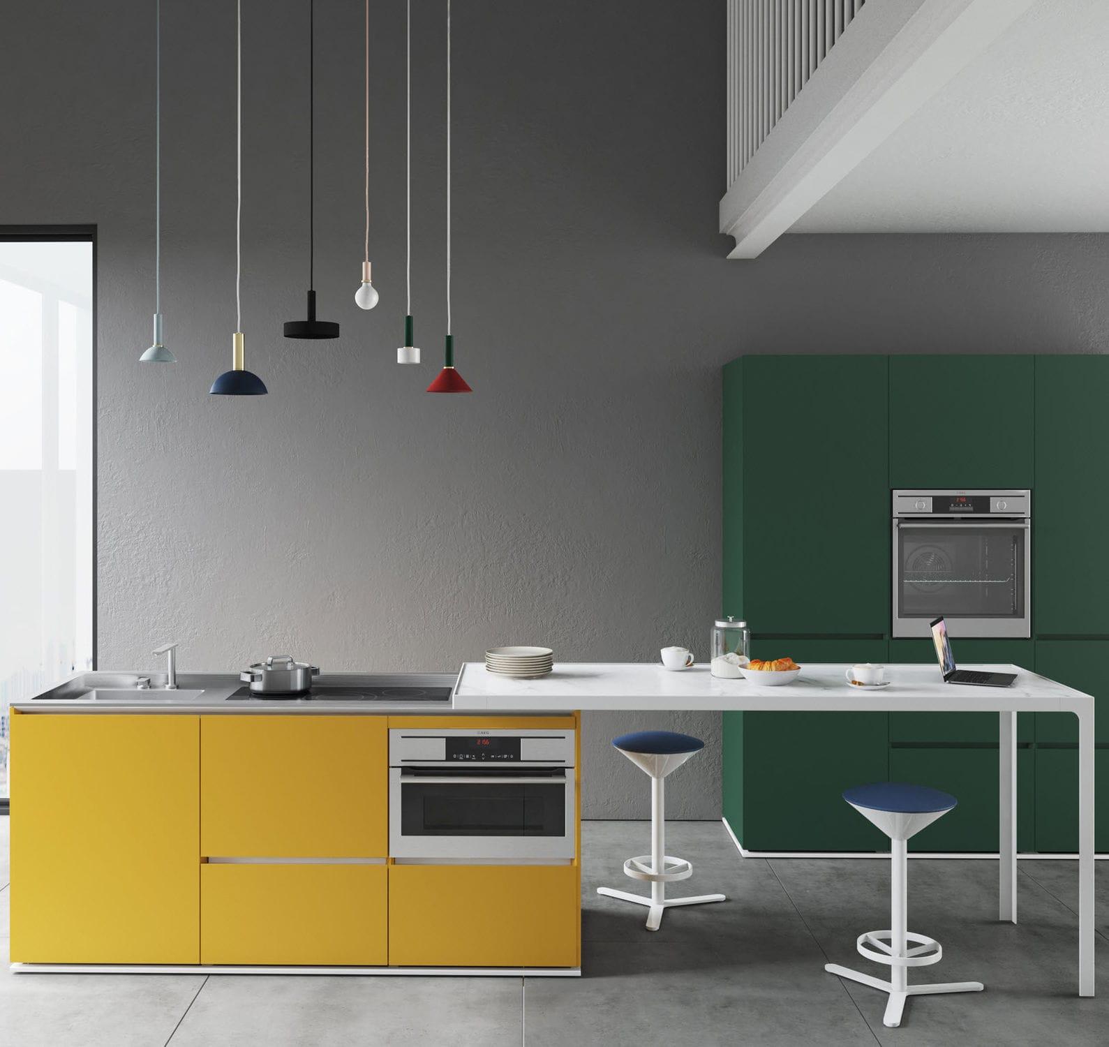 bancone da cucina / in legno laccato / in metallo / dritto - compact