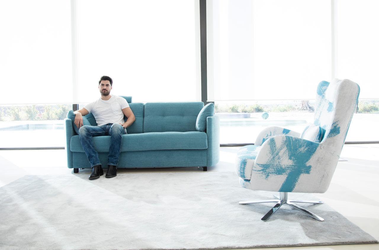 Divano modulare letto moderno in tessuto bolero fama