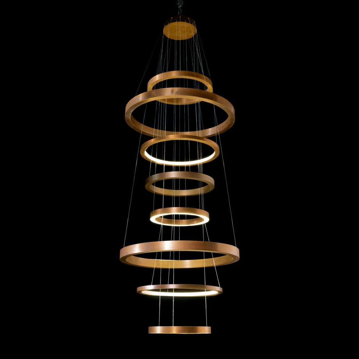 lampadario moderno / in ottone / in acciaio / LED , RING by Massimo Castagna