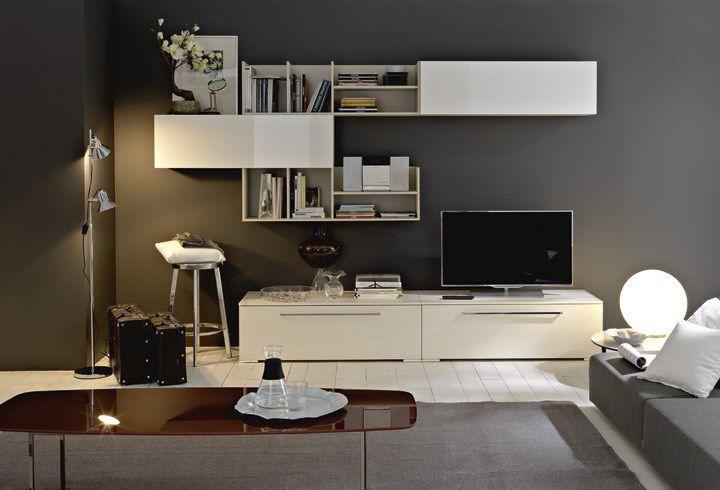 Parete Attrezzata Zig Zag Prezzo : Parete attrezzata tv moderno in legno in legno laccato led