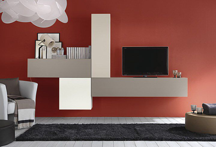 Parete Attrezzata Zig Zag Prezzo : Parete attrezzata tv moderno in legno in legno laccato mito