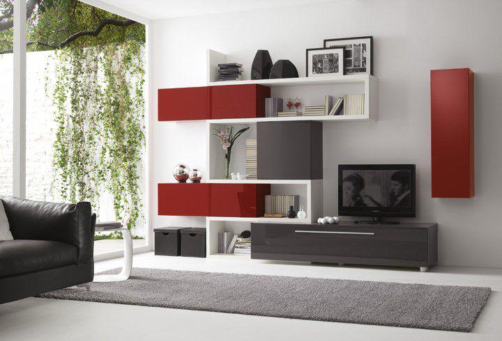 Parete Attrezzata Zig Zag Prezzo : Mobile porta tv moderno in legno zig zag qz pensarecasa