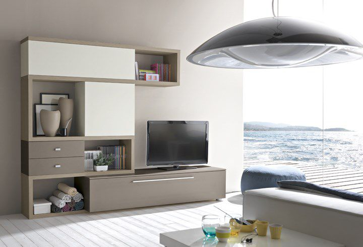 Parete Attrezzata Zig Zag : Mobile porta tv moderno in legno zig zag qz pensarecasa
