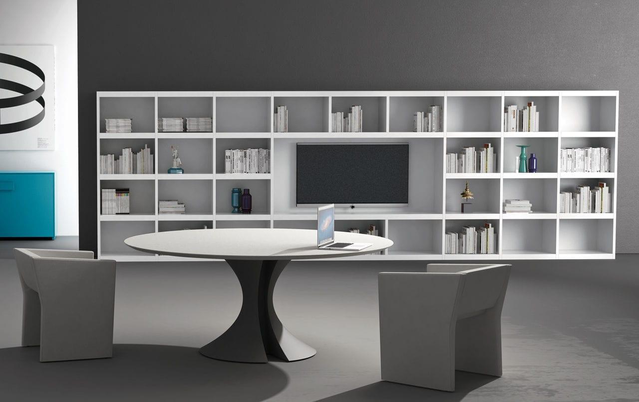Libreria alta moderna per ufficio in legno cubik martex