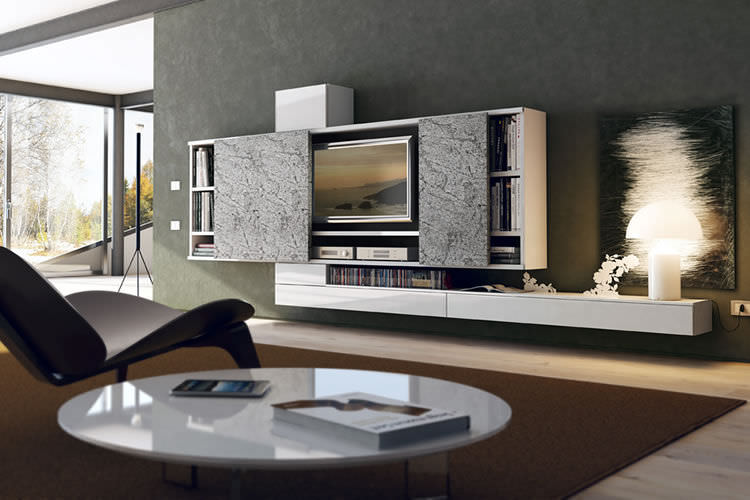Parete attrezzata TV moderno / in legno / in legno laccato ...