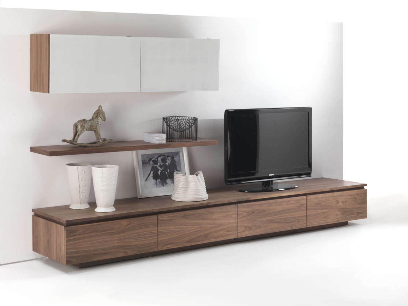 Parete attrezzata tv moderno / in legno / in vetro laccato ...