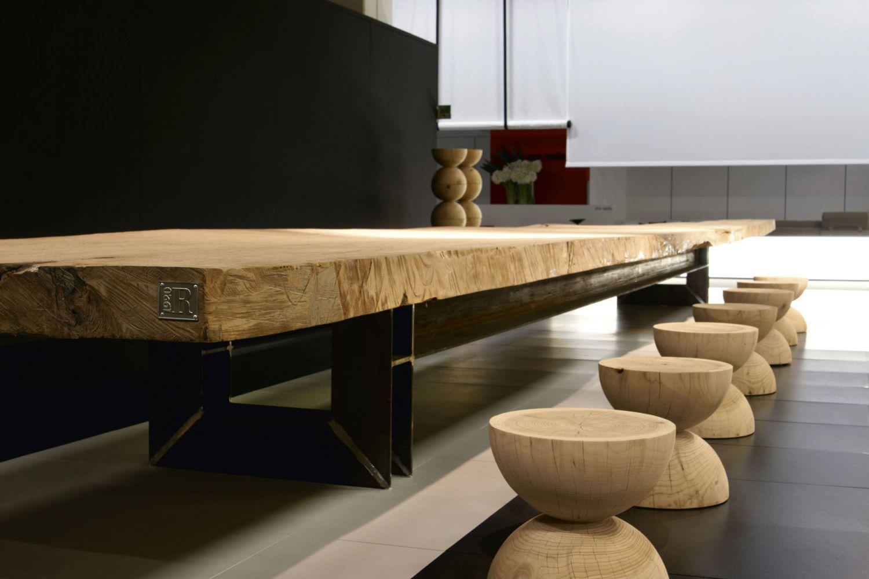 Sgabello moderno / in legno massiccio / in cedro / di Mario Botta ...