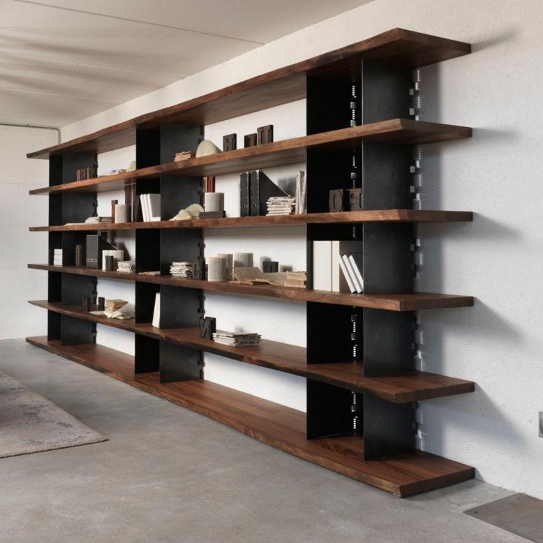 Scaffale moderno / in legno massiccio / in noce / in ferro - BRIE ...