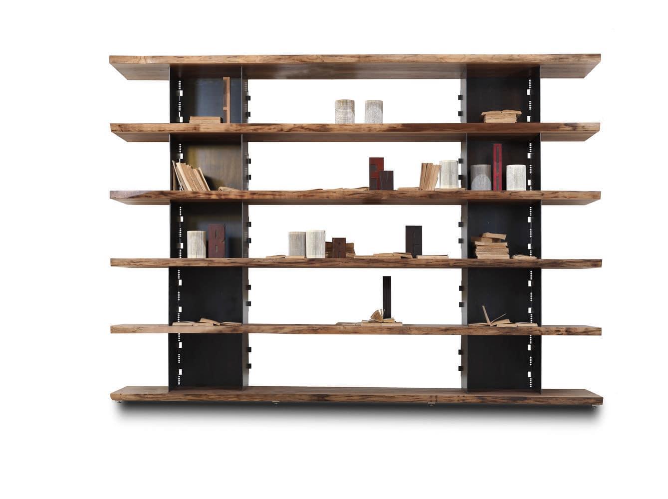 Scaffale moderno in legno massiccio in noce in ferro brie