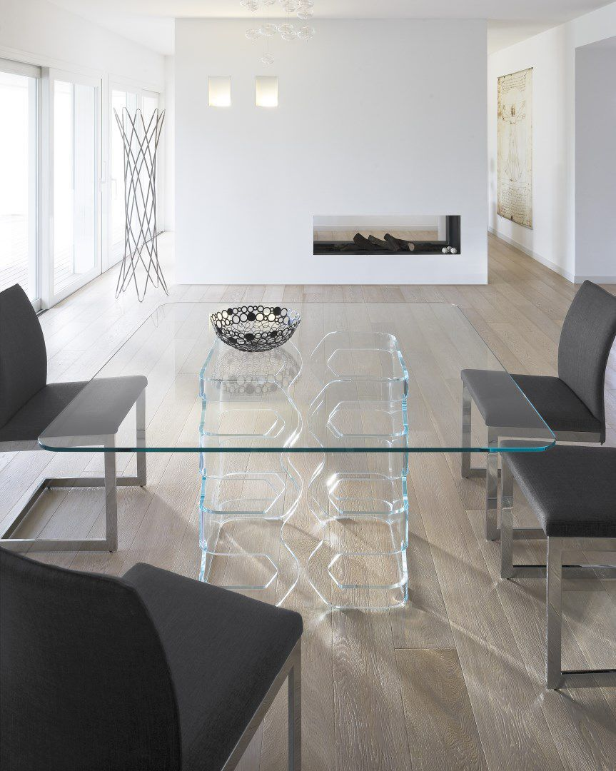 Tavolo da pranzo moderno / in vetro / in vetro temprato ...