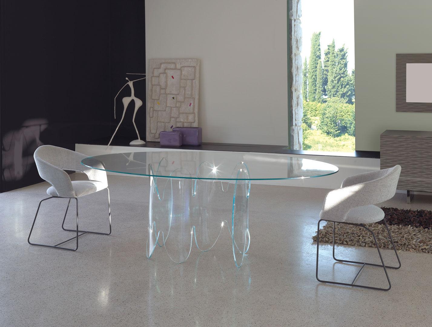 Tavolo da pranzo moderno / in vetro / in vetro temprato / ovale ...
