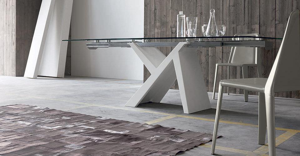 Tavolo Rettangolare In Vetro.Tavolo Moderno In Vetro Rettangolare Allungabile Ikarus