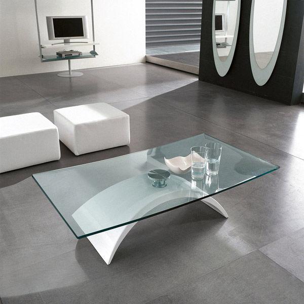 Tavolo moderno / in vetro temprato / ovale / bianco - TUDOR - Tonin Casa