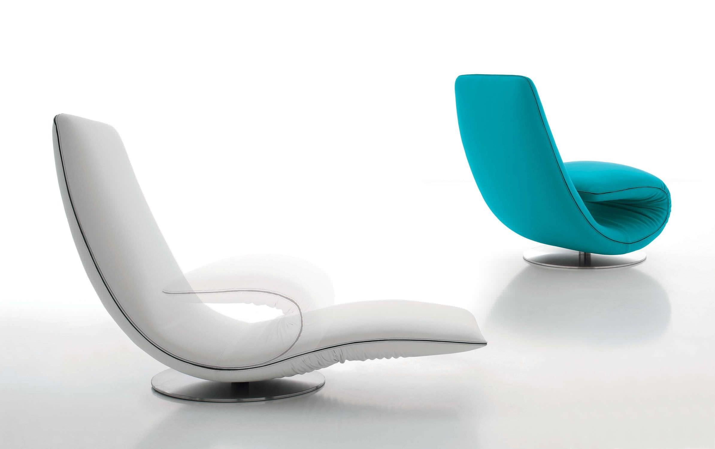 Chaise longue design originale / in tessuto / in pelle / pieghevole ...