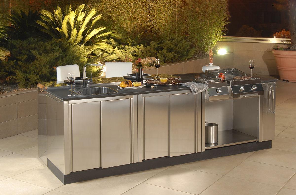 Cucina in acciaio inox / da esterno / senza maniglie - OUTDOOR ...