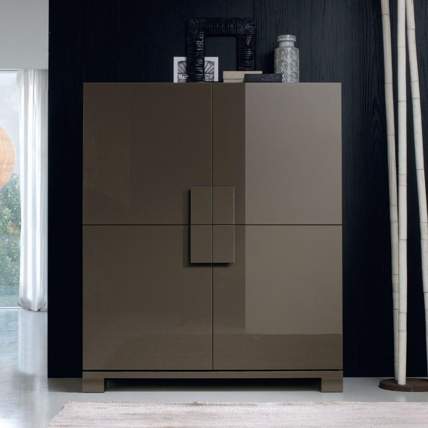 Credenza alta / moderna / in legno laccato / colore personalizzabile ...