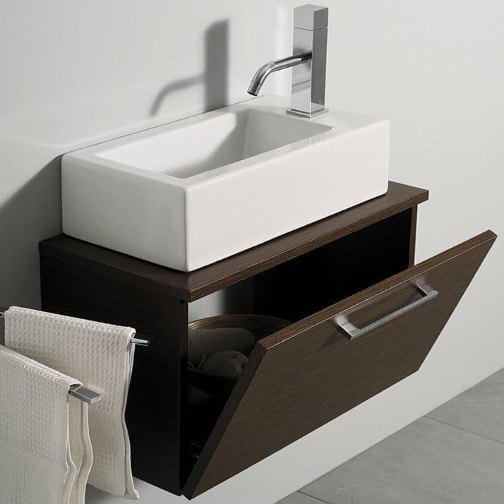 Mobile lavabo sospeso / in legno / moderno / con specchio - MINI ...