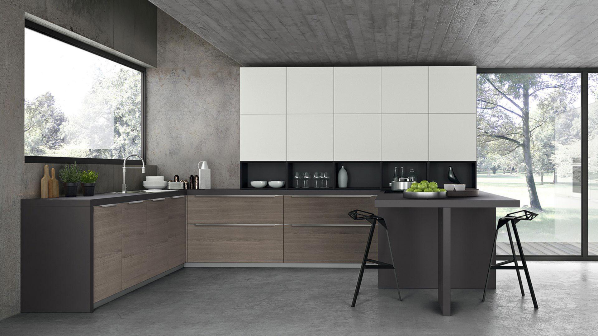 Cucina moderna / impiallacciata in legno / in melamminico / a U ...