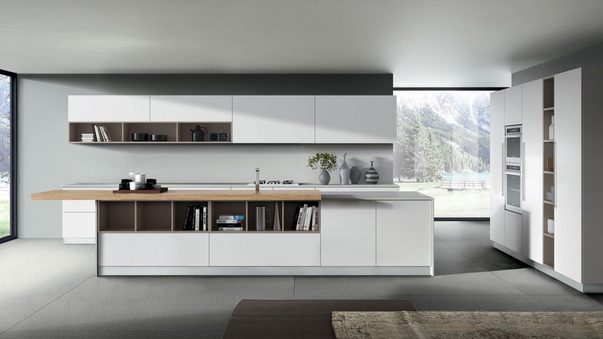 Cucina moderna / in melamminico / con isola / laccata - KAPPA ...