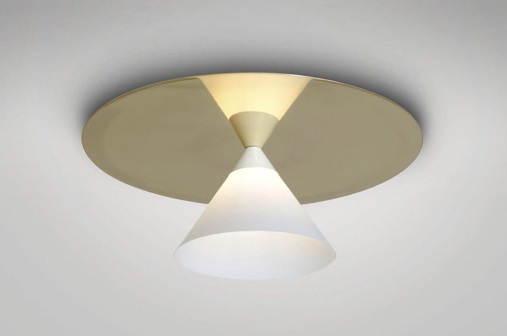 Plafoniere Ottone E Vetro : Plafoniera moderna in vetro ottone lucidato led plate