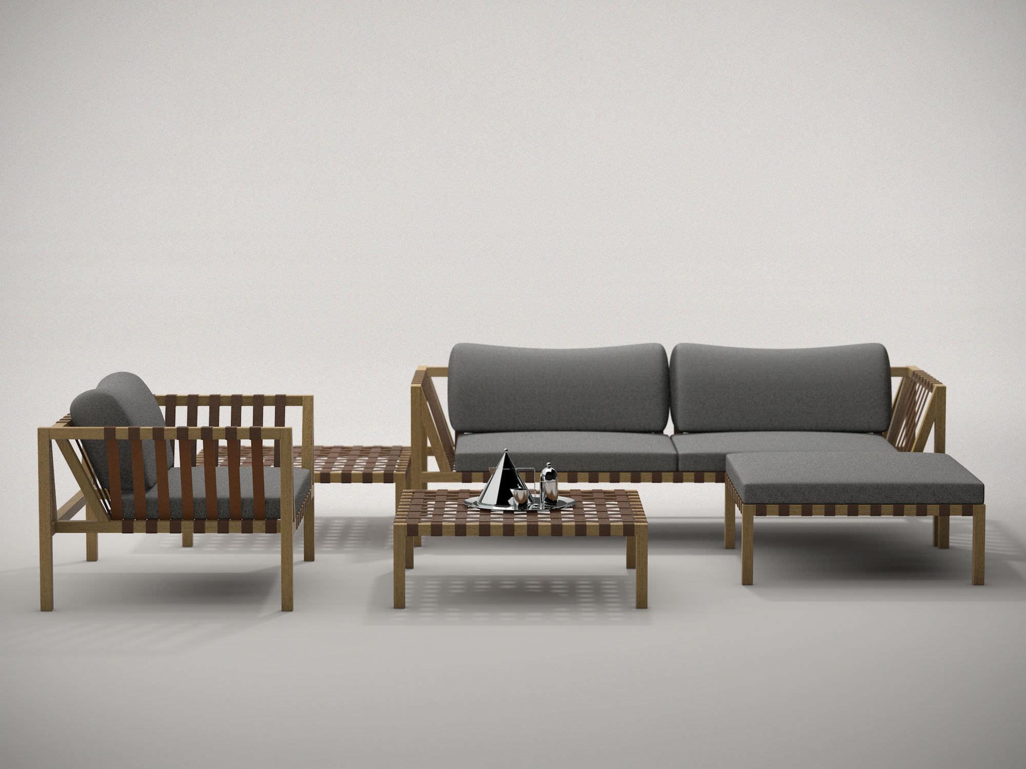 Divano moderno da giardino in legno posti wing