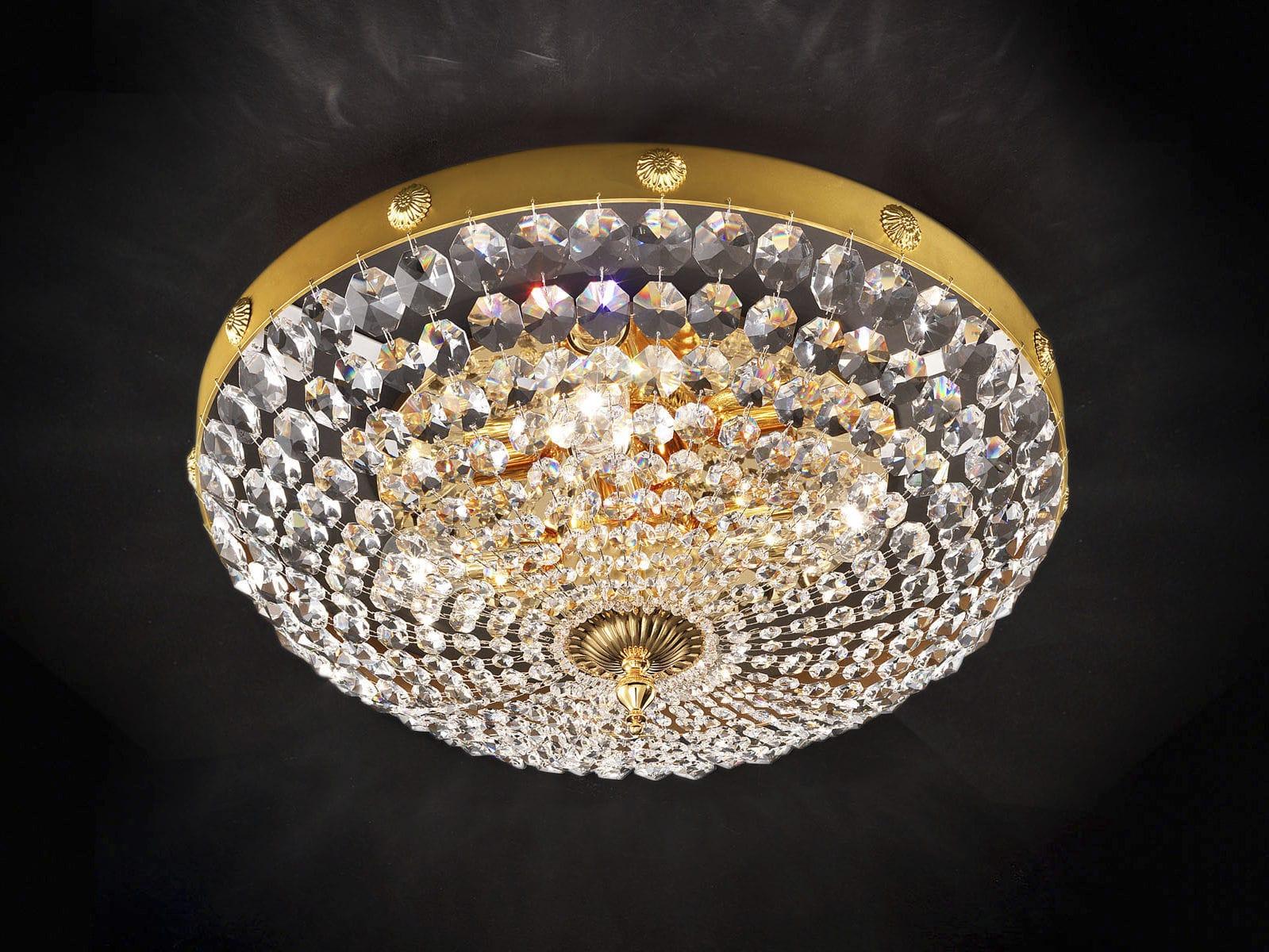 Plafoniere Cristallo Prezzi : Plafoniera in stile tonda cristallo metallo elegantia