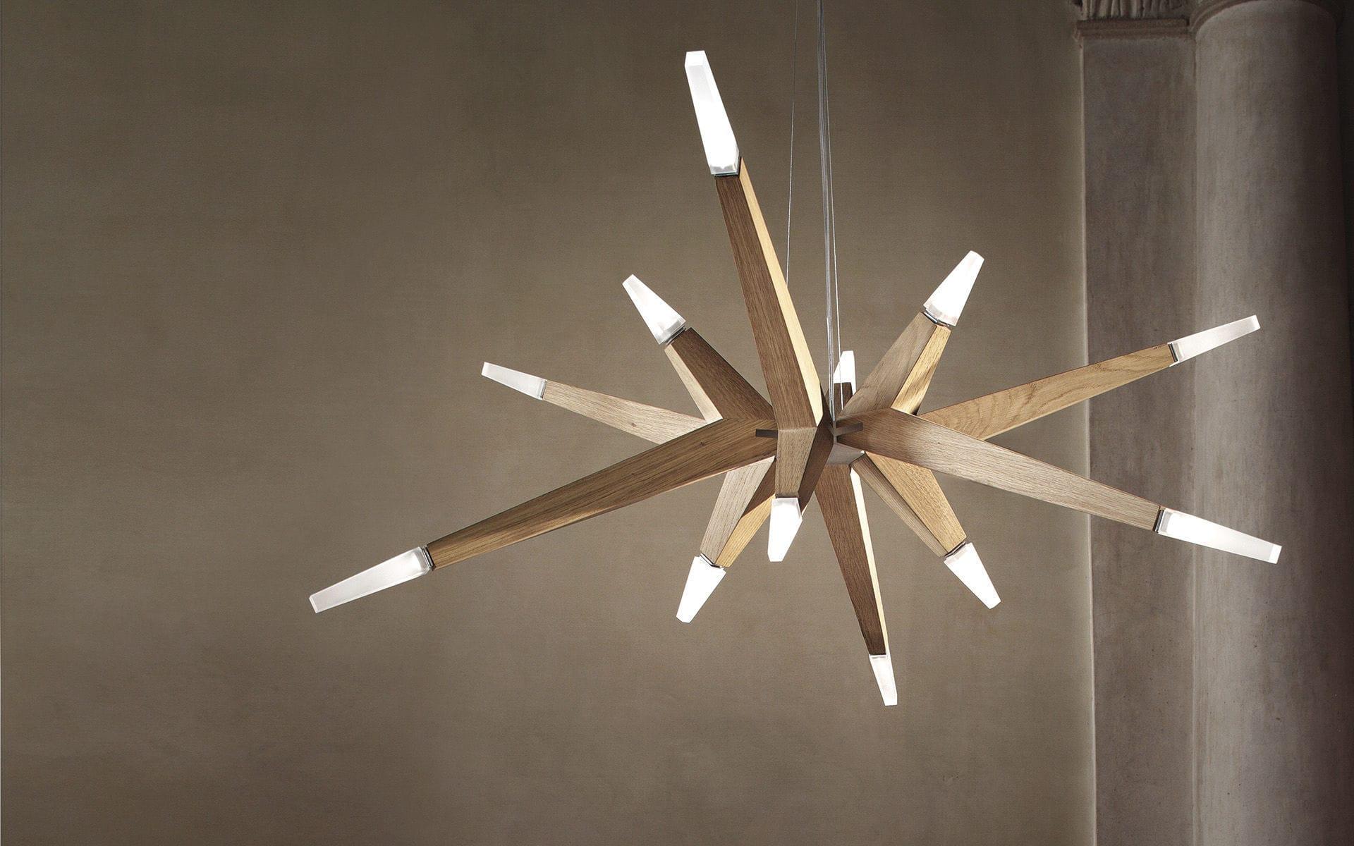 Lampadario In Legno Design : Lampadario design originale in legno in metacrilato led