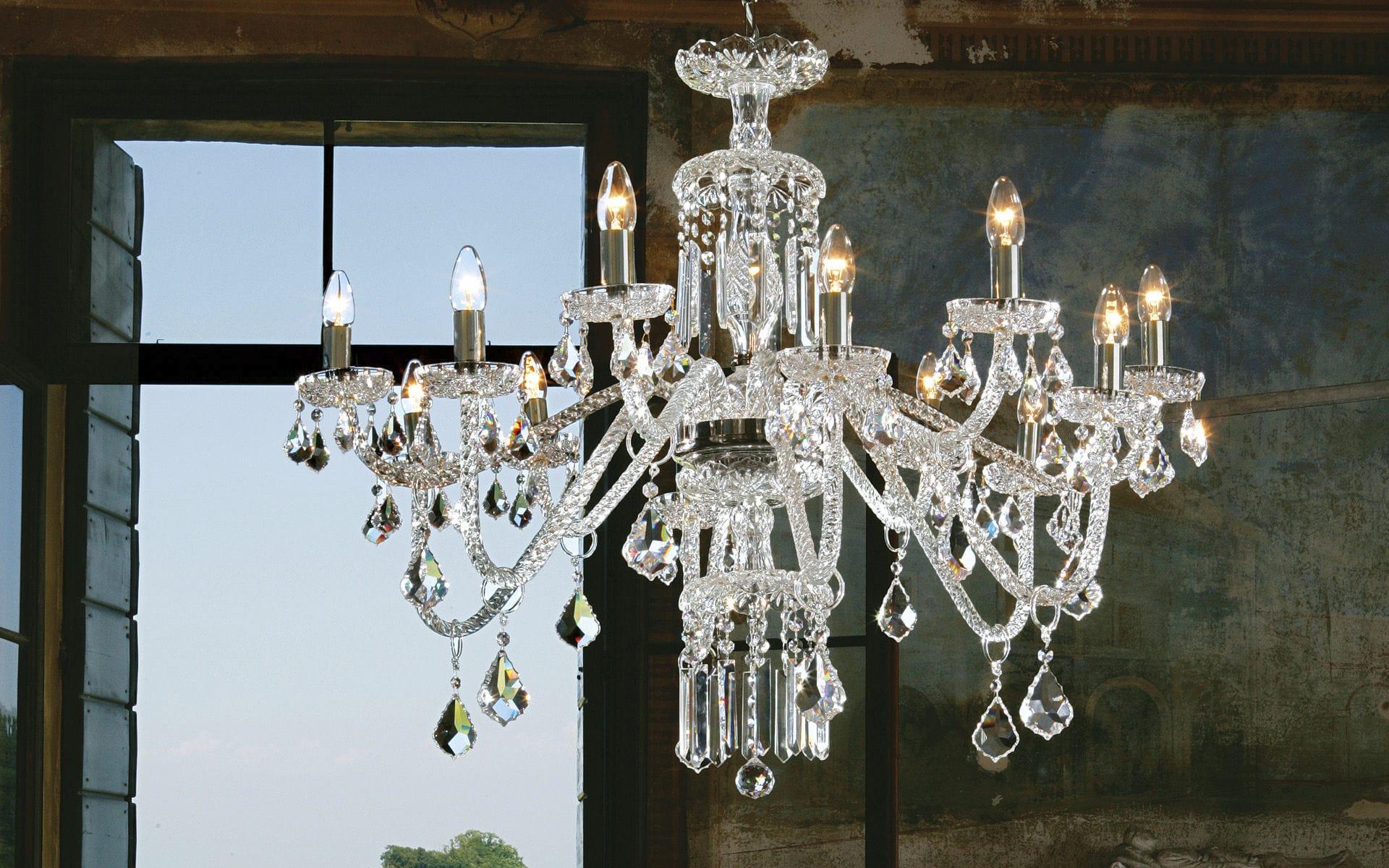 Lampadario in stile / in cristallo / in vetro di Murano / a ...