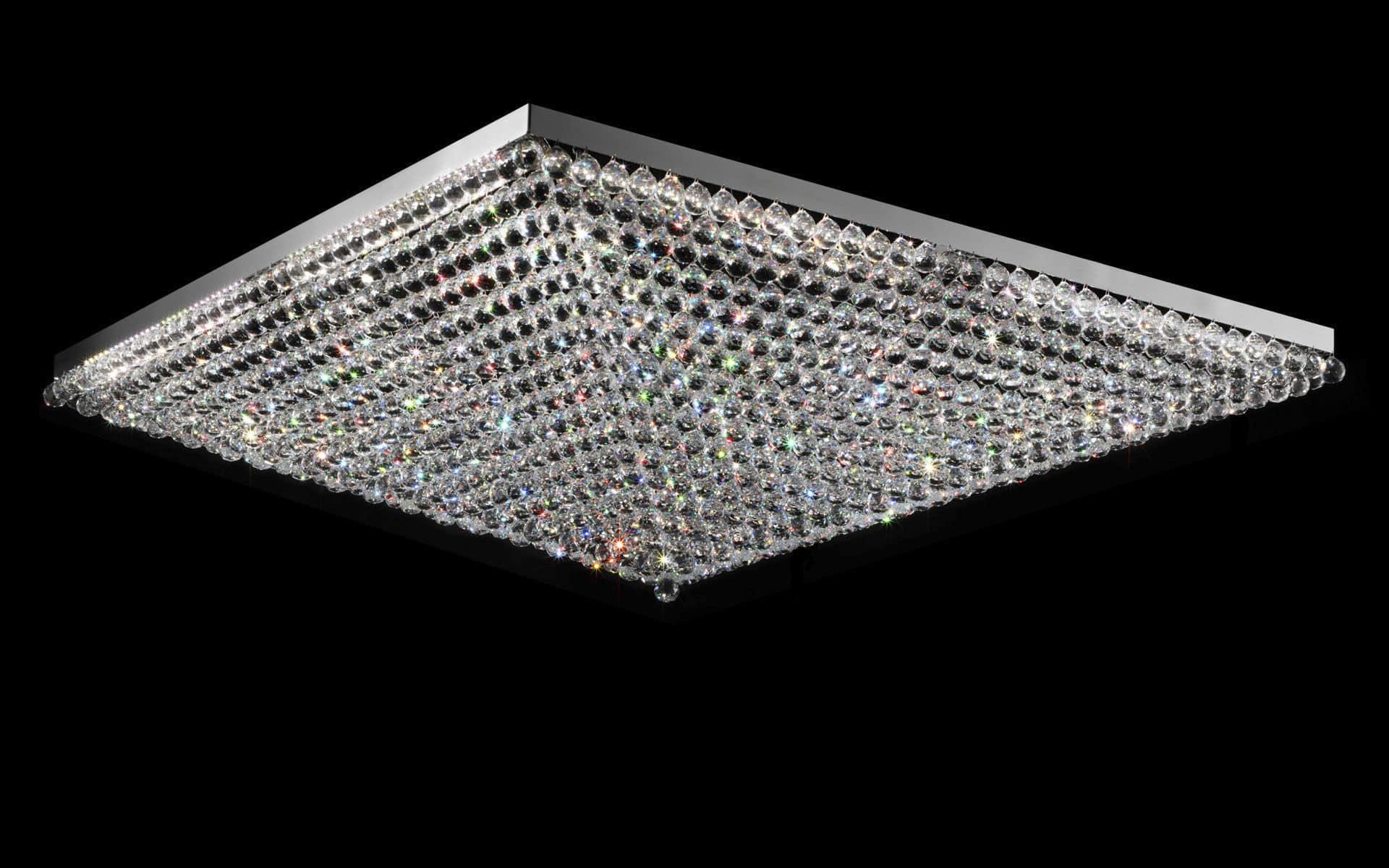 Plafoniere In Cristallo Prezzo : Plafoniera moderna quadrata in cristallo led ve masiero